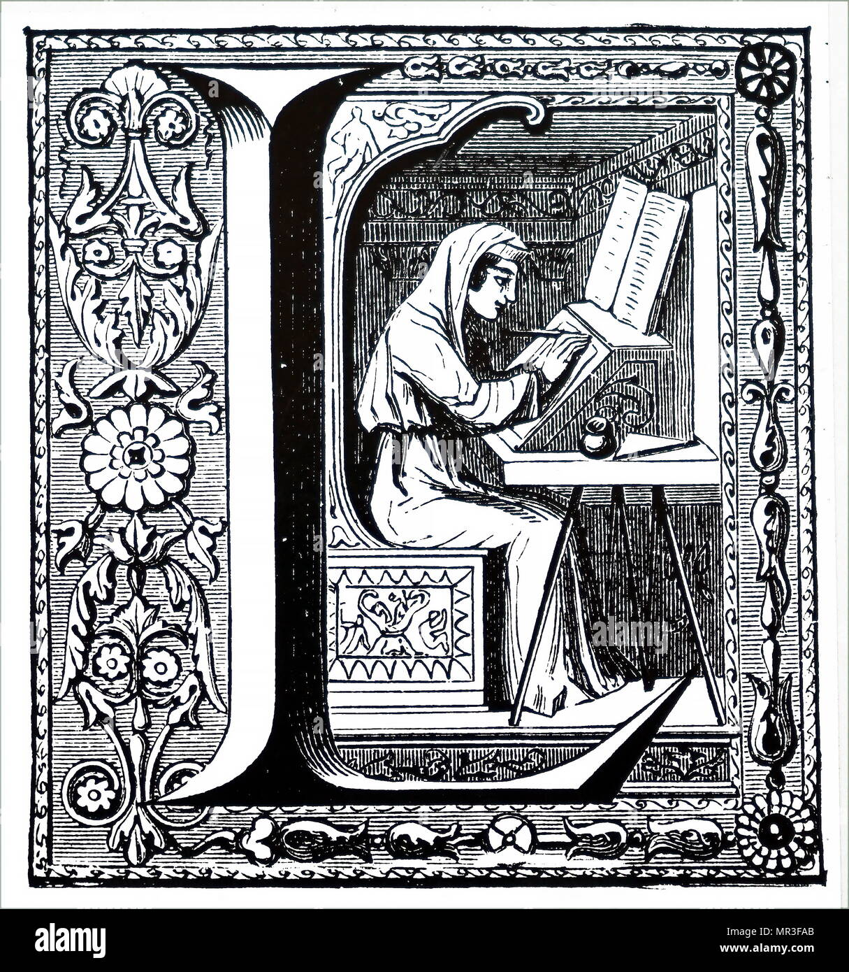 Engraving depicting a monk illuminating a manuscript. Dated 14th century - Stock Image