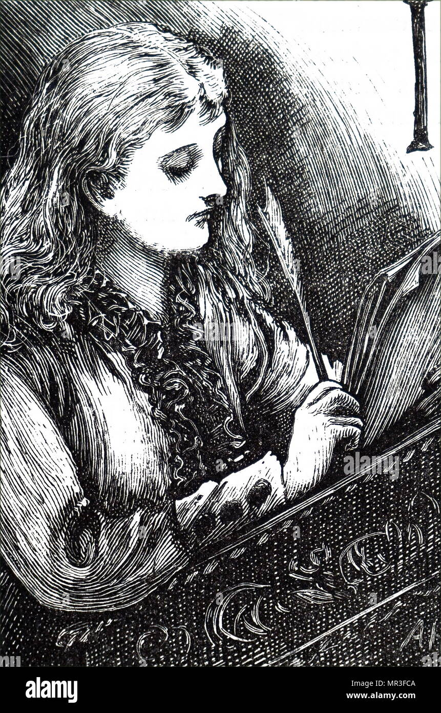 Illustration depicting a young girl reading through a letter she has written with the quill pen in her hand. Dated 19th century - Stock Image