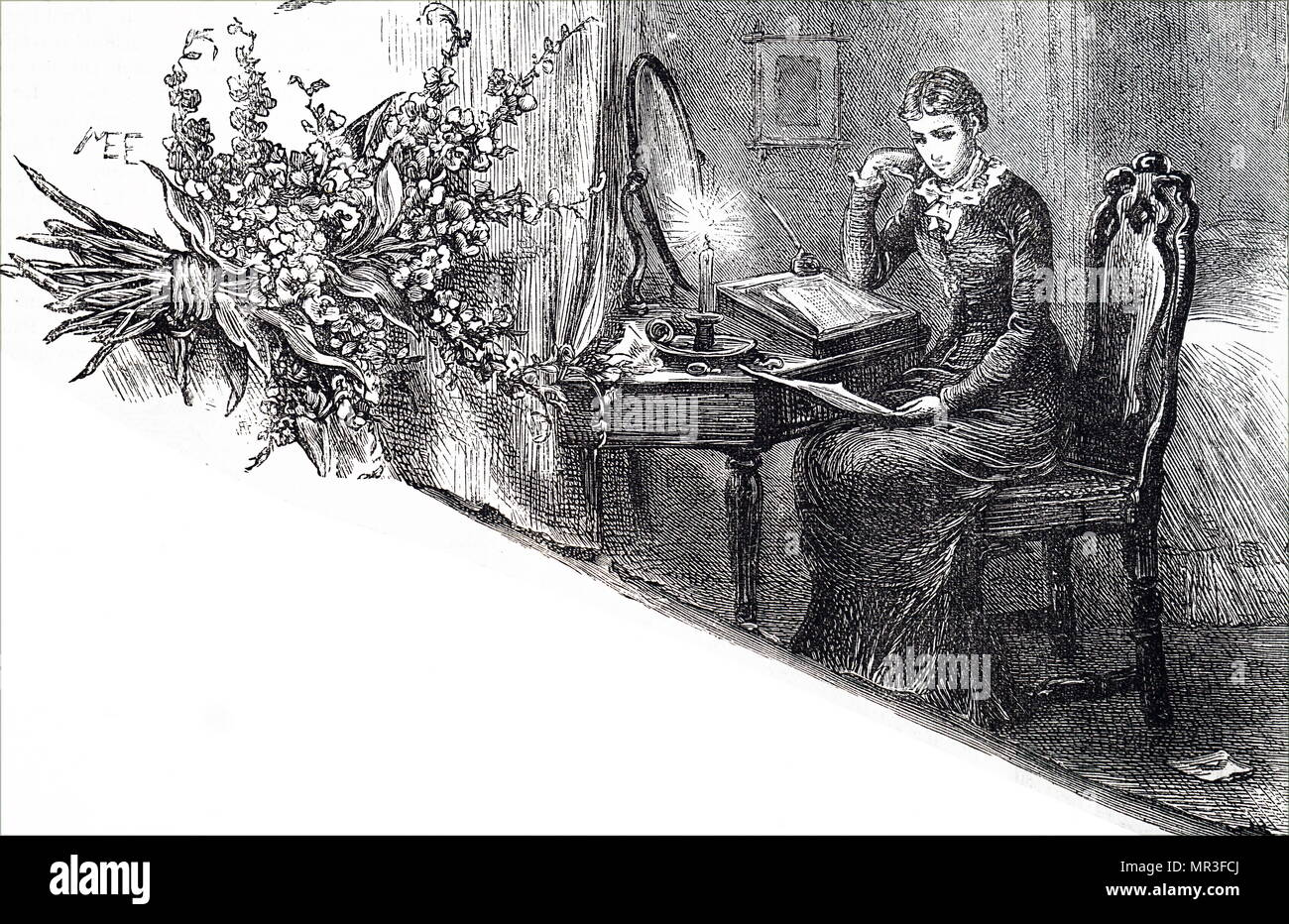 Illustration depicting a young woman reading through a letter she has written with the quill pen in her hand. Illustrated by Mary Ellen Edwards (1838-1934) an English artist. Dated 19th century - Stock Image