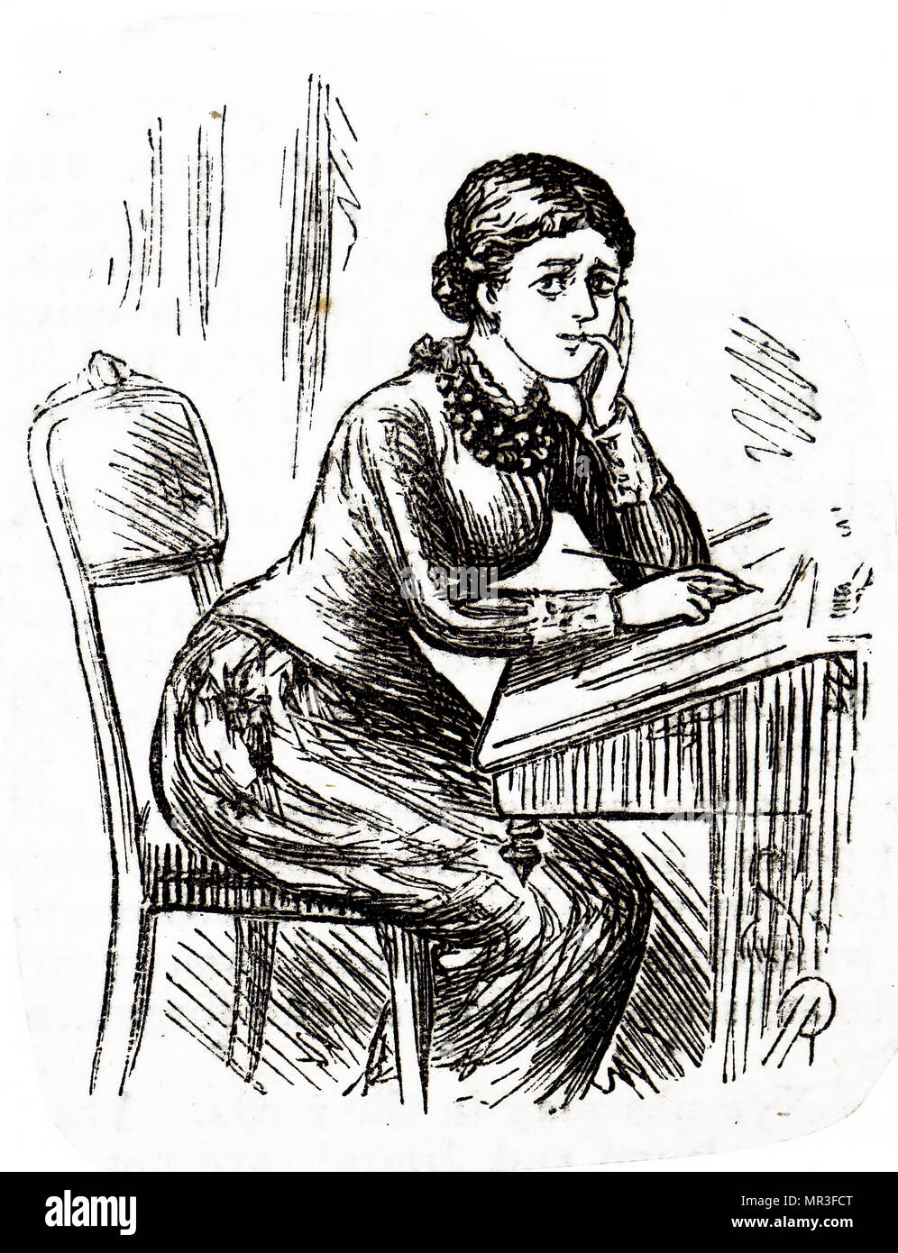 Illustration depicting a young woman writing a letter whilst sitting at her desk, using a writing slope. Dated 19th century Stock Photo
