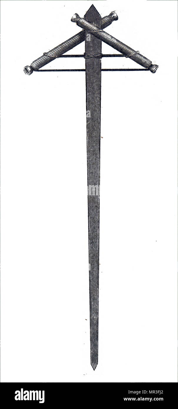 Caduceus Rocket, a form of firework used in the 18th and 19th century. Illustration 1820 - Stock Image