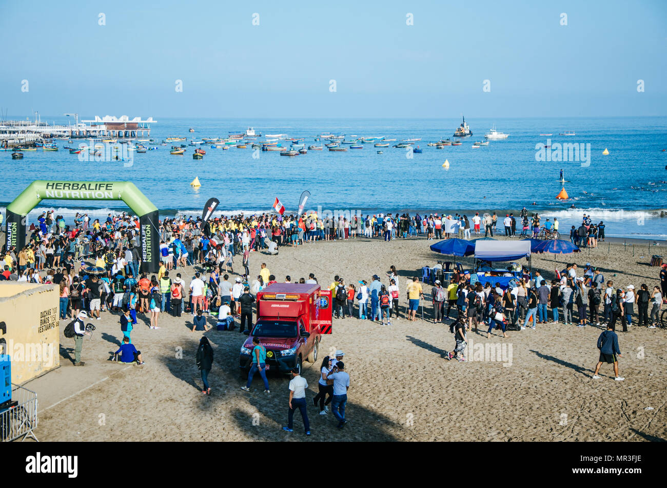 LIMA, PERU - APRIL 22th 2018: Ironman 70.3 . Panorama of the whole event and the audience's concurrence - Stock Image