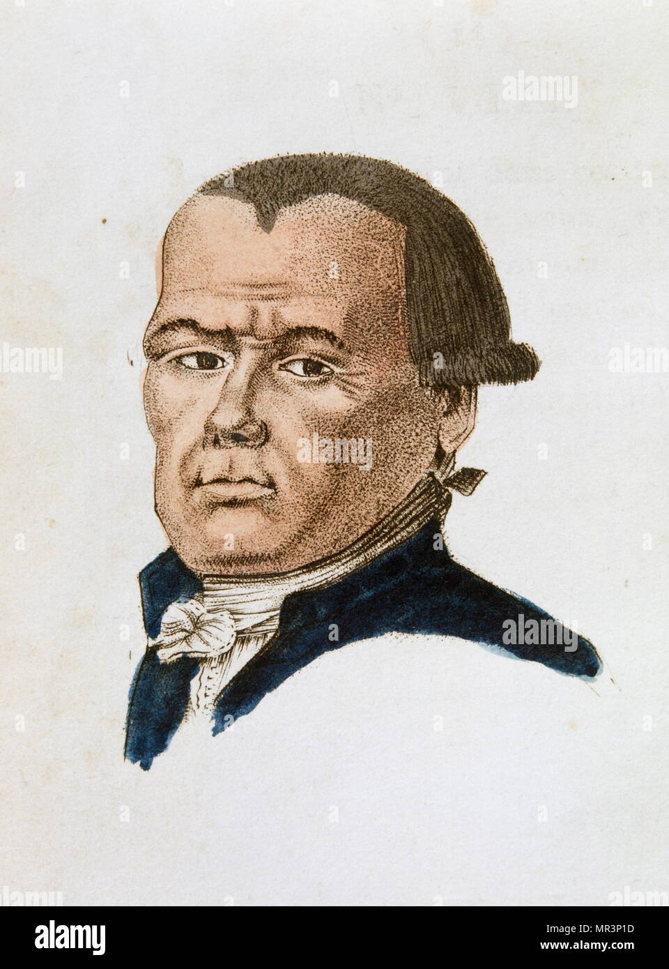 Illustration of a man from 'The Portable Lavater or precise the art of knowing men by the facial features' 1808 by Johann Kaspar Lavater (1741 – 1801). Lavater was a Swiss poet, writer, philosopher, physiognomist and theologian. Lavater is most known for his work in the field of physiognomy. He introduced the idea that physiognomy related to the specific character traits of individuals, rather than general types. - Stock Image