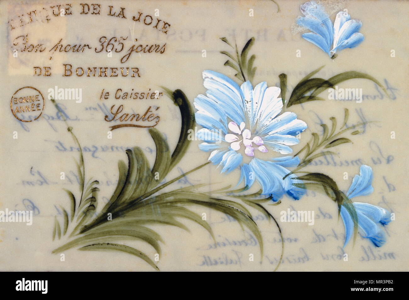french happy new year postcard depicting hand painted blue flowers circa 1900