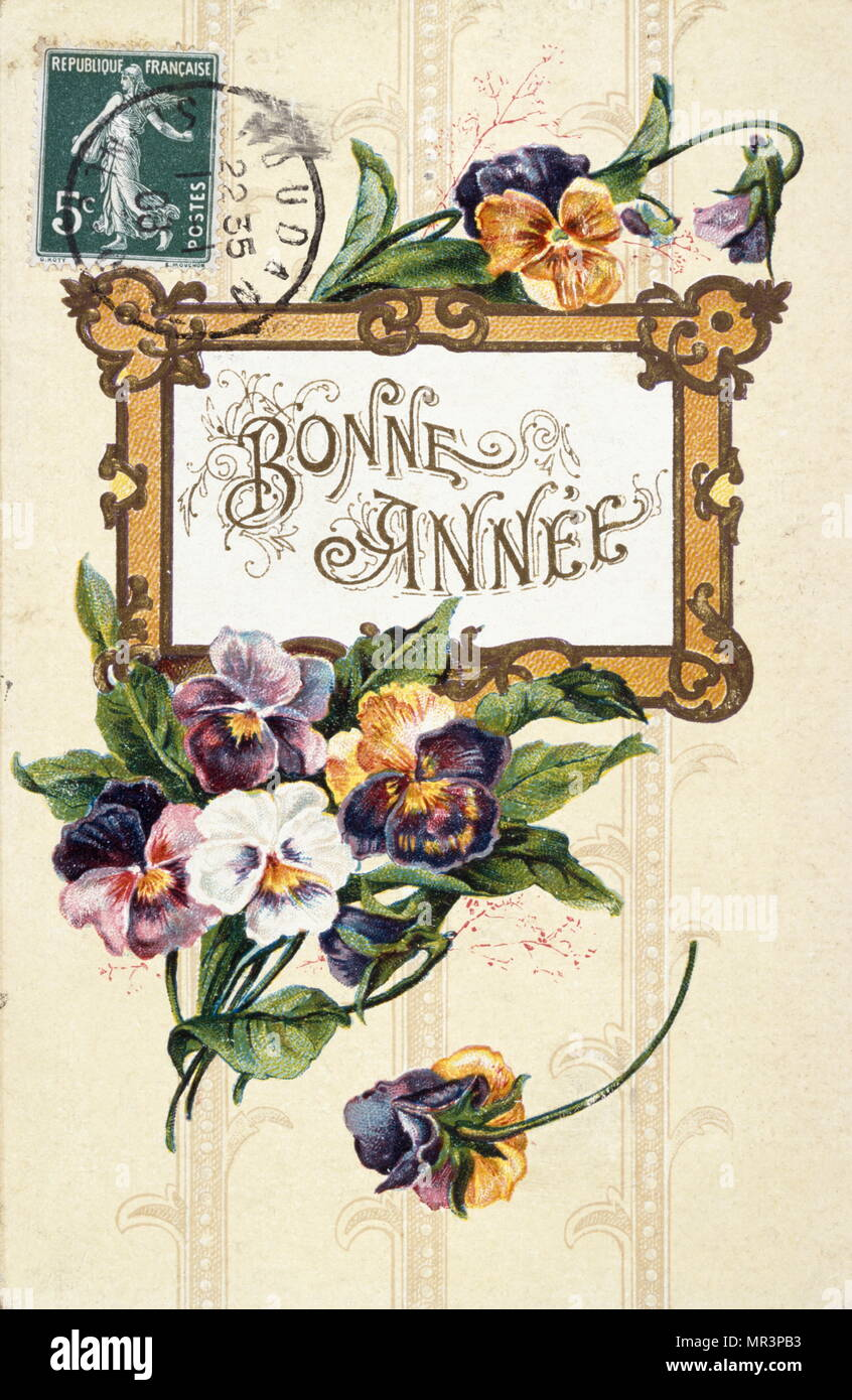 french happy new year postcard depicting flowers circa 1900