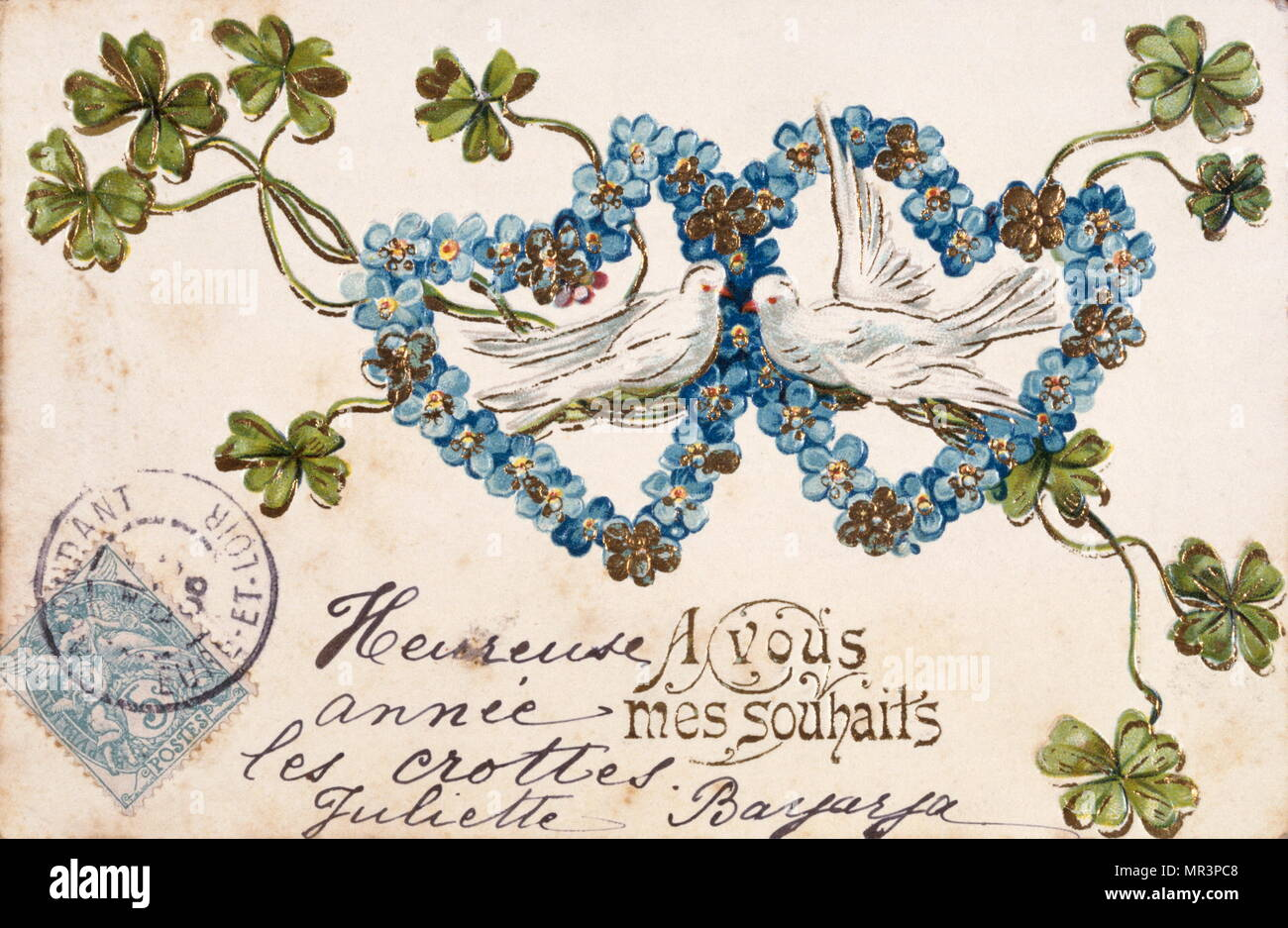 french happy new year postcard depicting hearts and doves 1900