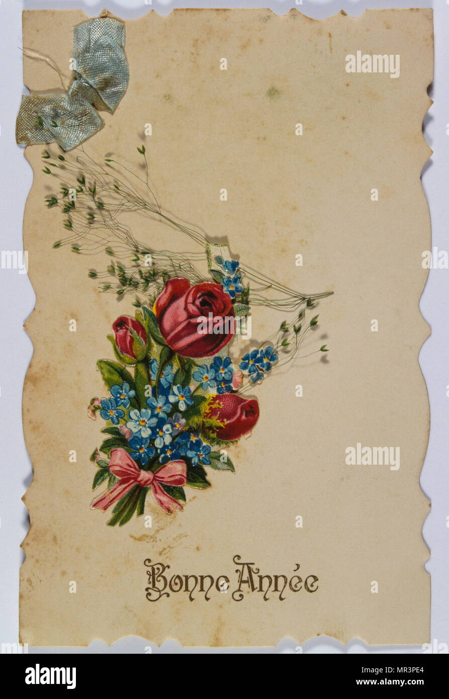 french happy new year postcard depicting flowers 1900