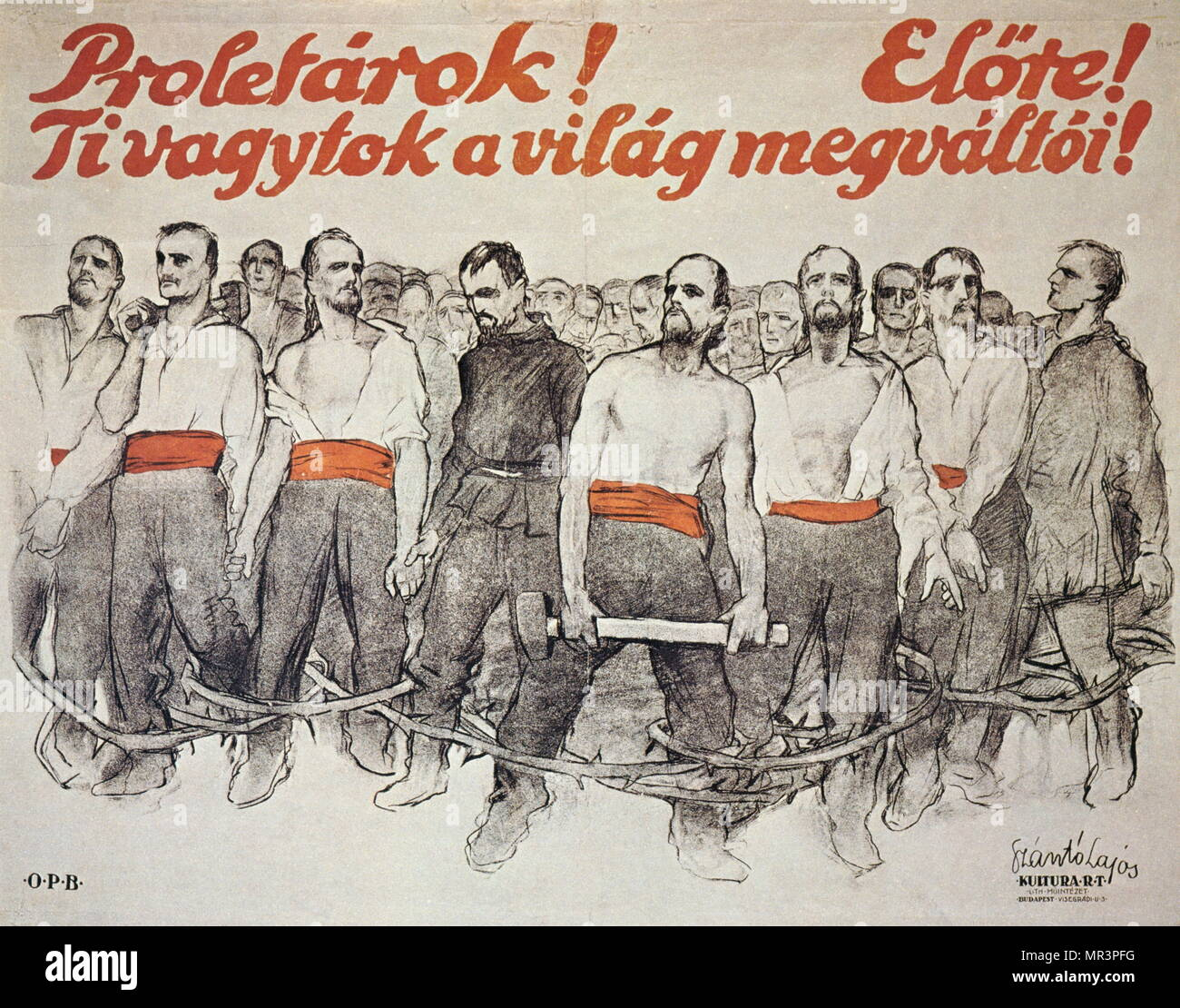 Hungarian Revolutionary poster of 1919, calling on workers to 'advance and save the world'. By Lajos Szanto (1890-1965), painter and graphic artist - Stock Image