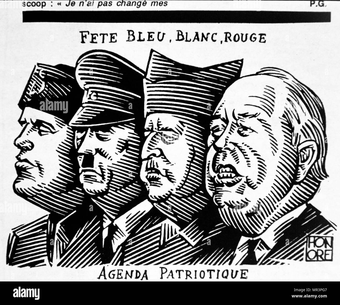 Cartoon depicting the French National Front leader, Jean Marie la Pen, alongside Franco, Hitler and Mussolini, Published 1991 in the French; Magazine 'La Grosse Bertha' a weekly satirical magazine. - Stock Image