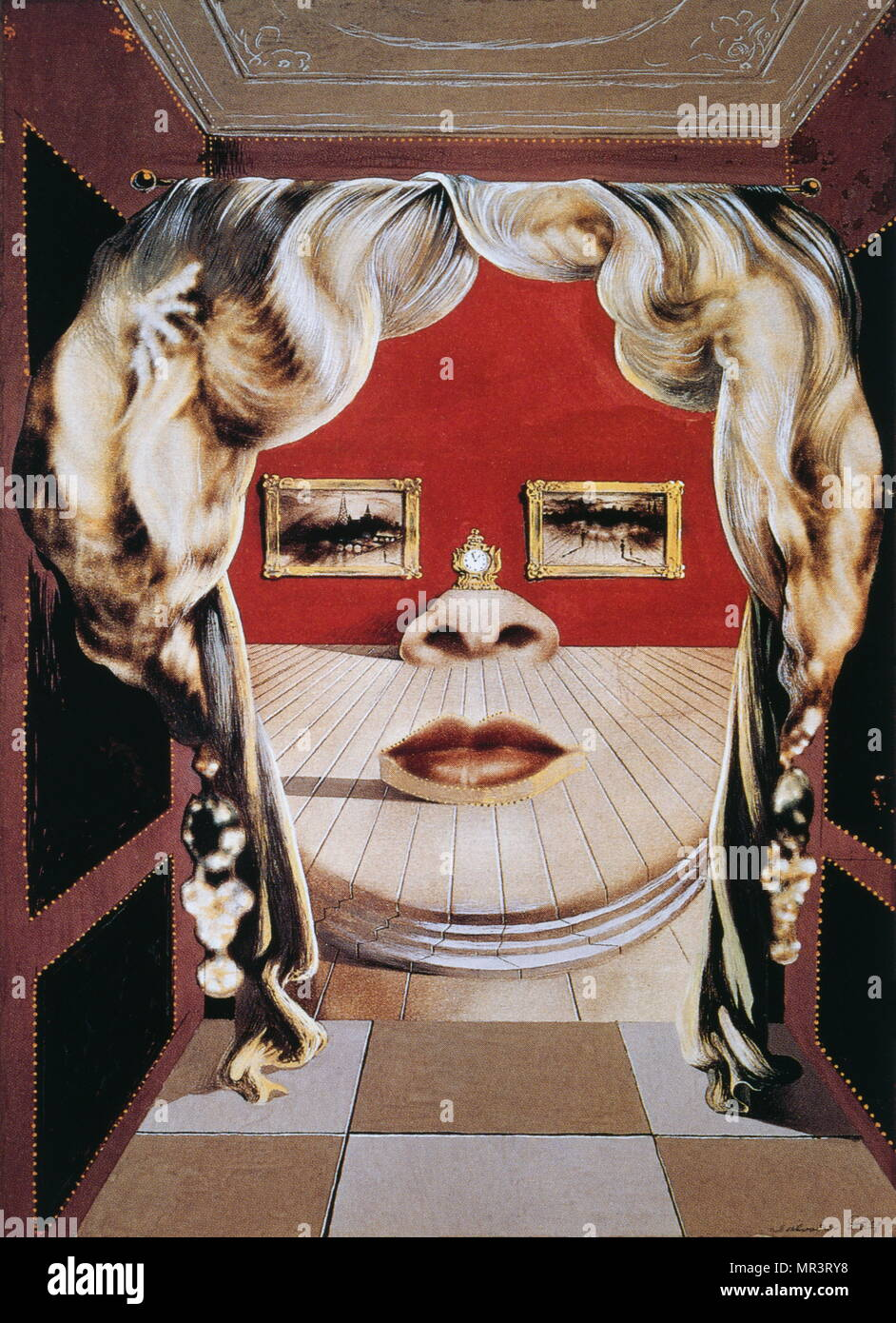 Face of Mae West' 1935 painting,  by Salvador Dali (1904-1989) Spanish surrealist artist - Stock Image