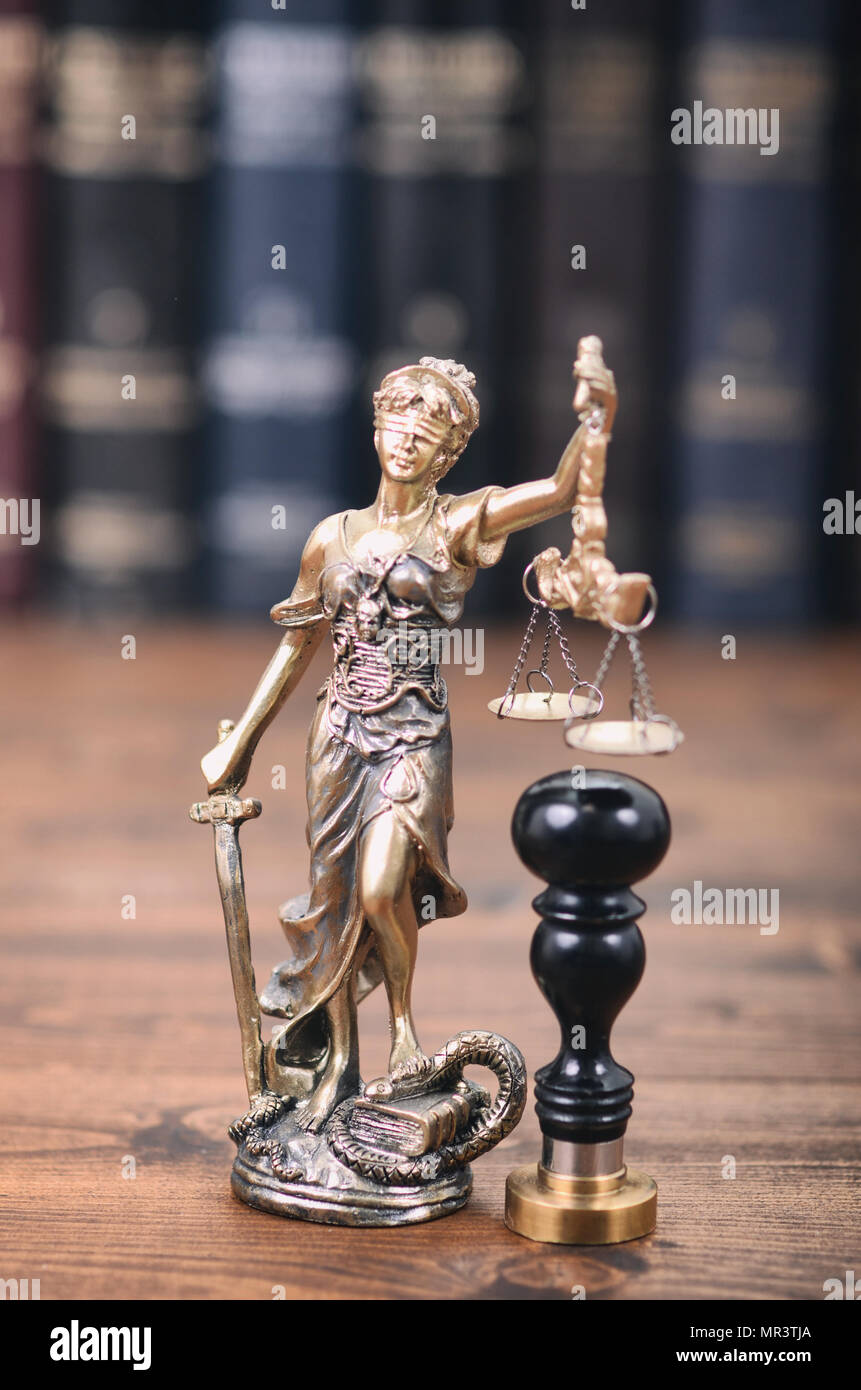 Law and Justice, Legality concept, Scales of Justice, Justitia, Lady Justice and notary seal. - Stock Image
