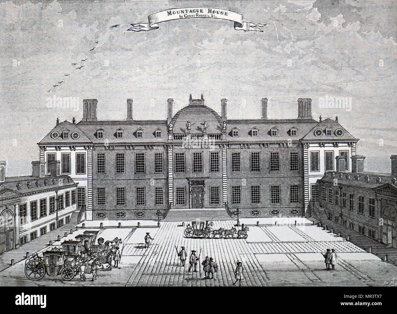 Illustration depicting the exterior of Montagu House, Bloomsbury, the first home of the British Museum. Dated 19th century - Stock Image