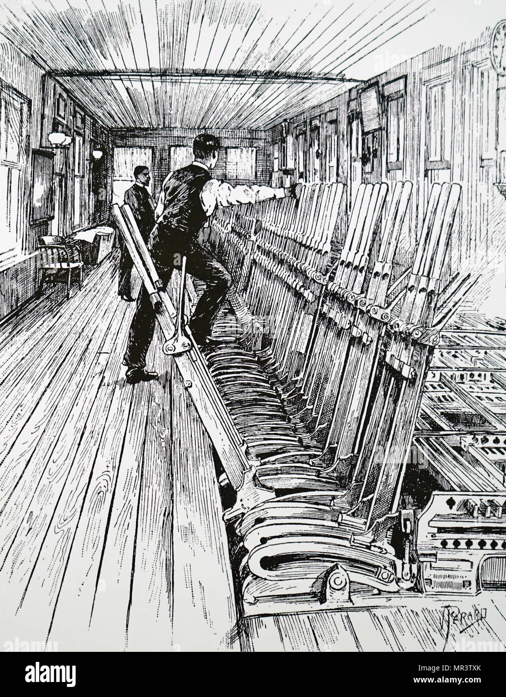 Illustration depicting a bank of interlocking levers in a signal box. Dated 19th century - Stock Image