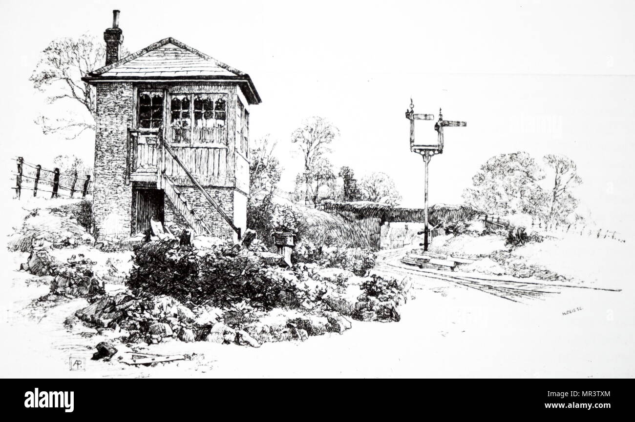 Illustration depicting a signal box used to communicate with trains and other signal boxes. Dated 19th century - Stock Image