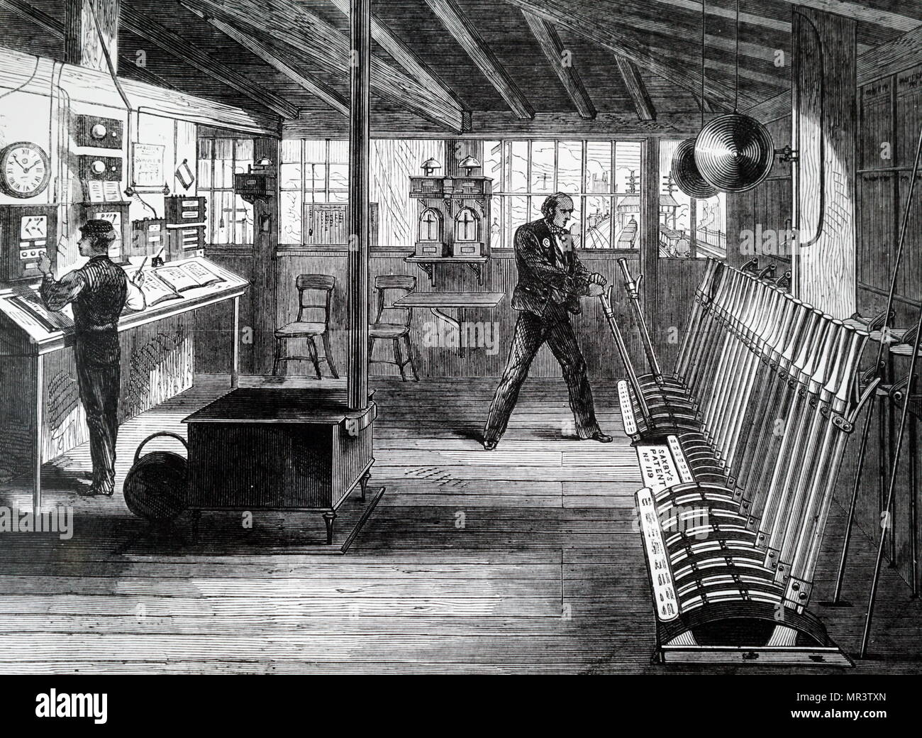 Illustration depicting a signal box, used to communicate with trains and other signal boxes, at London Bridge Station. Dated 19th century - Stock Image