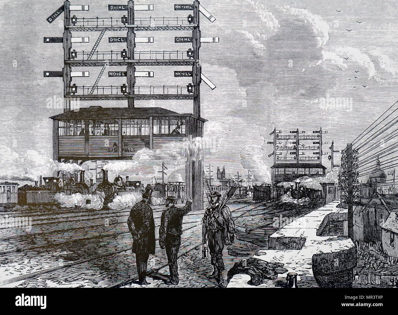 Illustration depicting a signal gantry at London Bridge Station. Dated 19th century - Stock Image