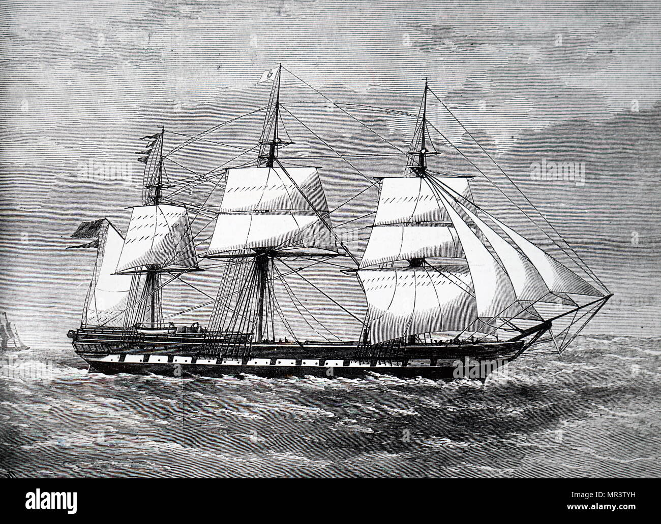 Illustration depicting the emigrant ship Gospatrick, which was destroyed at sea by fire. Dated 19th century - Stock Image