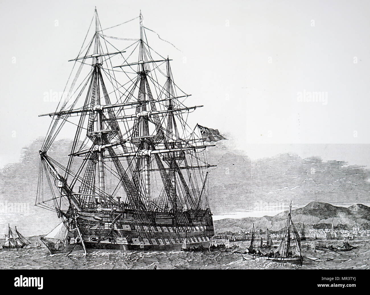 Illustration depicting the H.M.S. Hercules waiting in Campbelton Harbour before sailing for Australia with emigrants from Skye. Dated 19th century - Stock Image