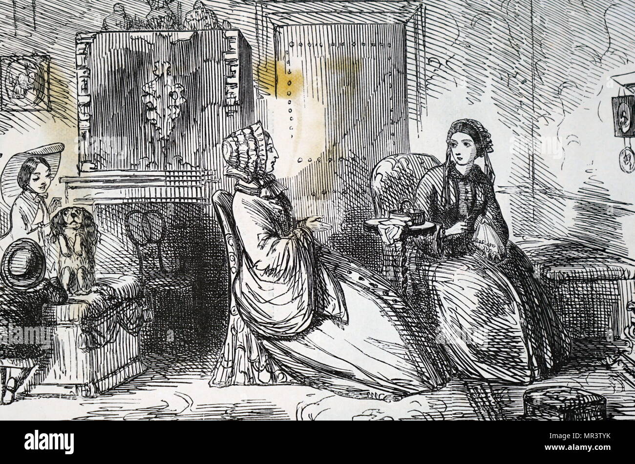 Illustration depicting a wealthy Victorian family spending time together in their luxury London home. Dated 19th century - Stock Image