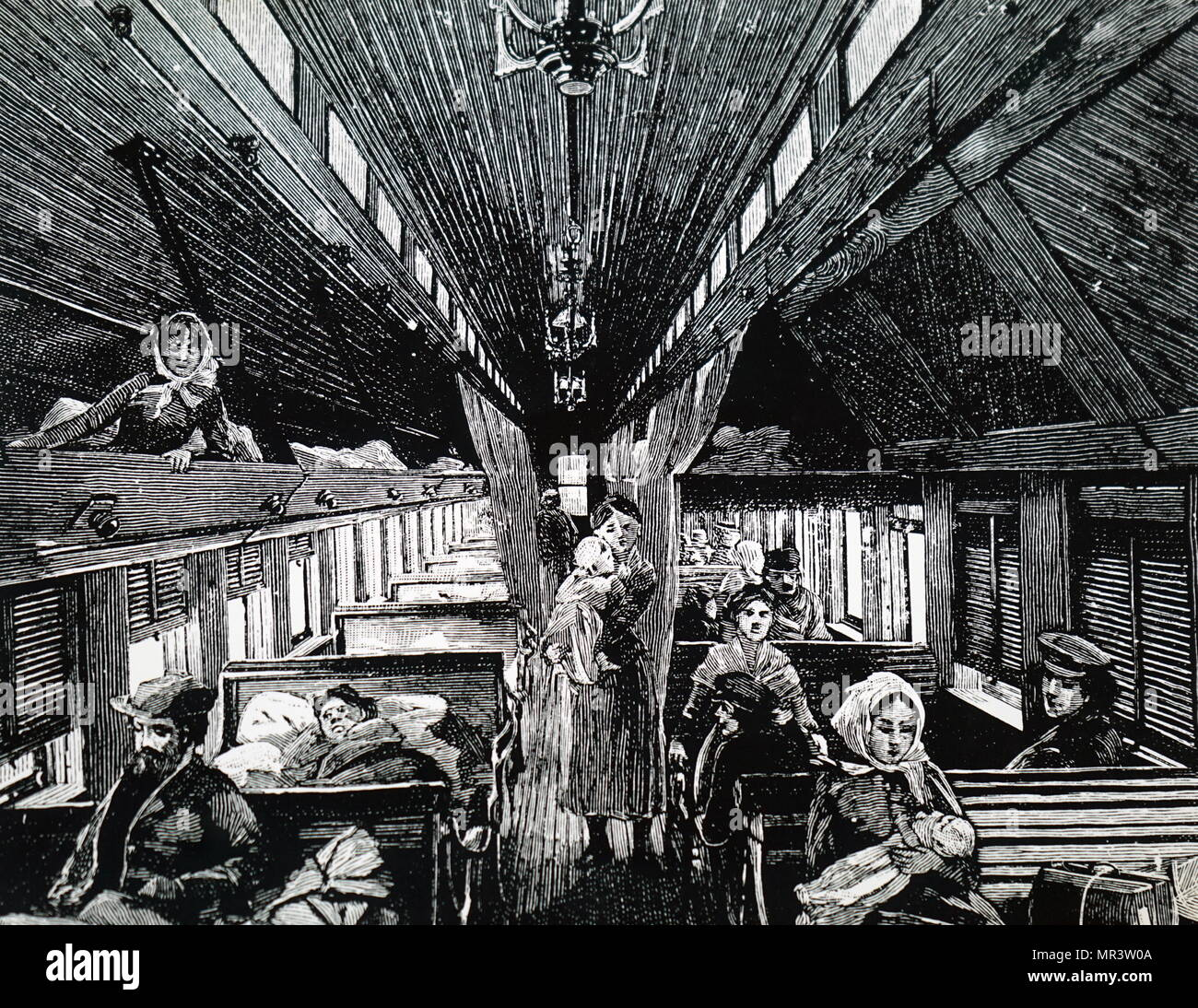 Engraving depicting an immigrant sleeping car on the Canadian Pacific Railway. Dated 19th century - Stock Image