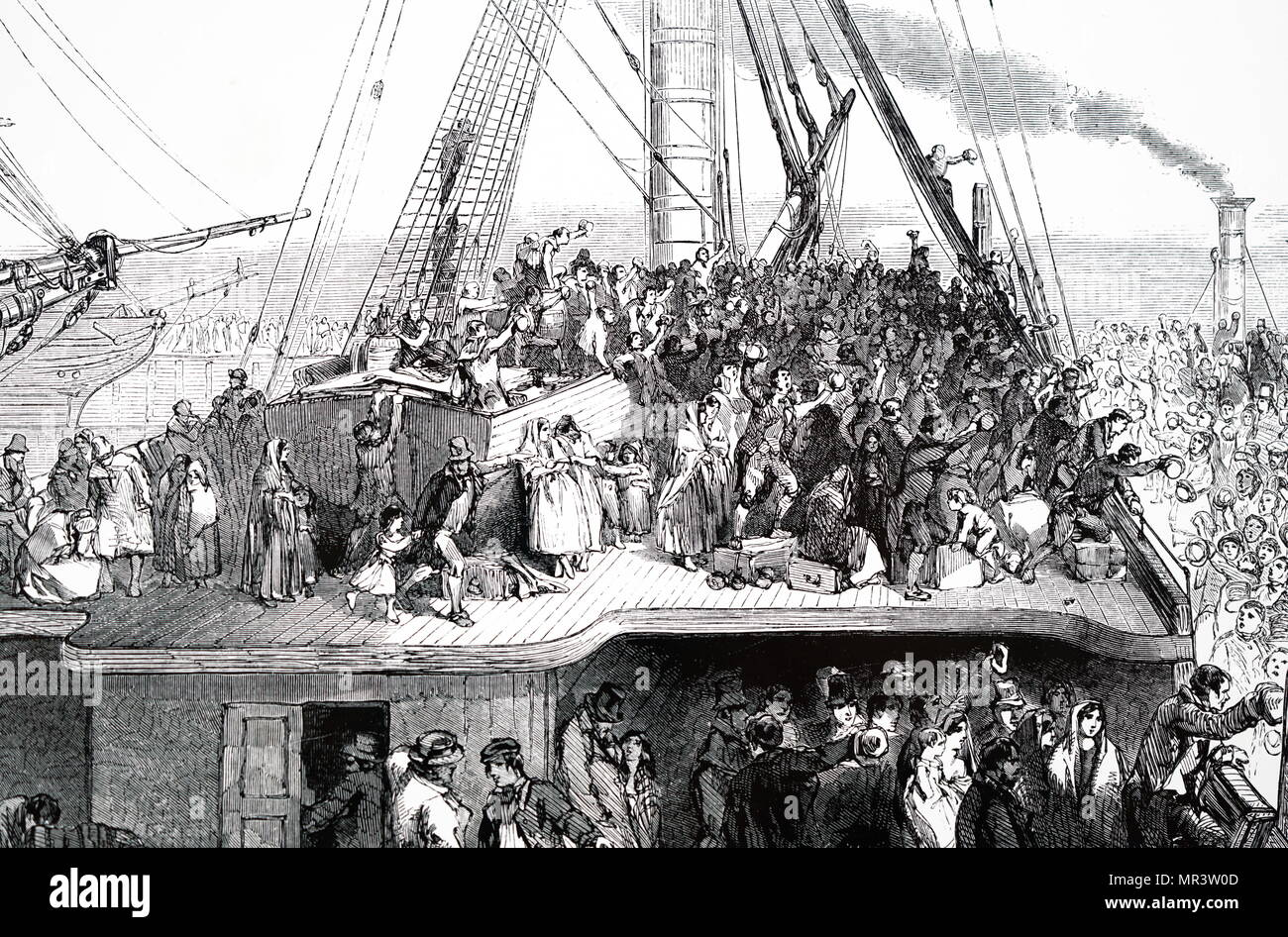 Illustration depicting an emigrant ship leaving Liverpool for America. Dated 19th century - Stock Image