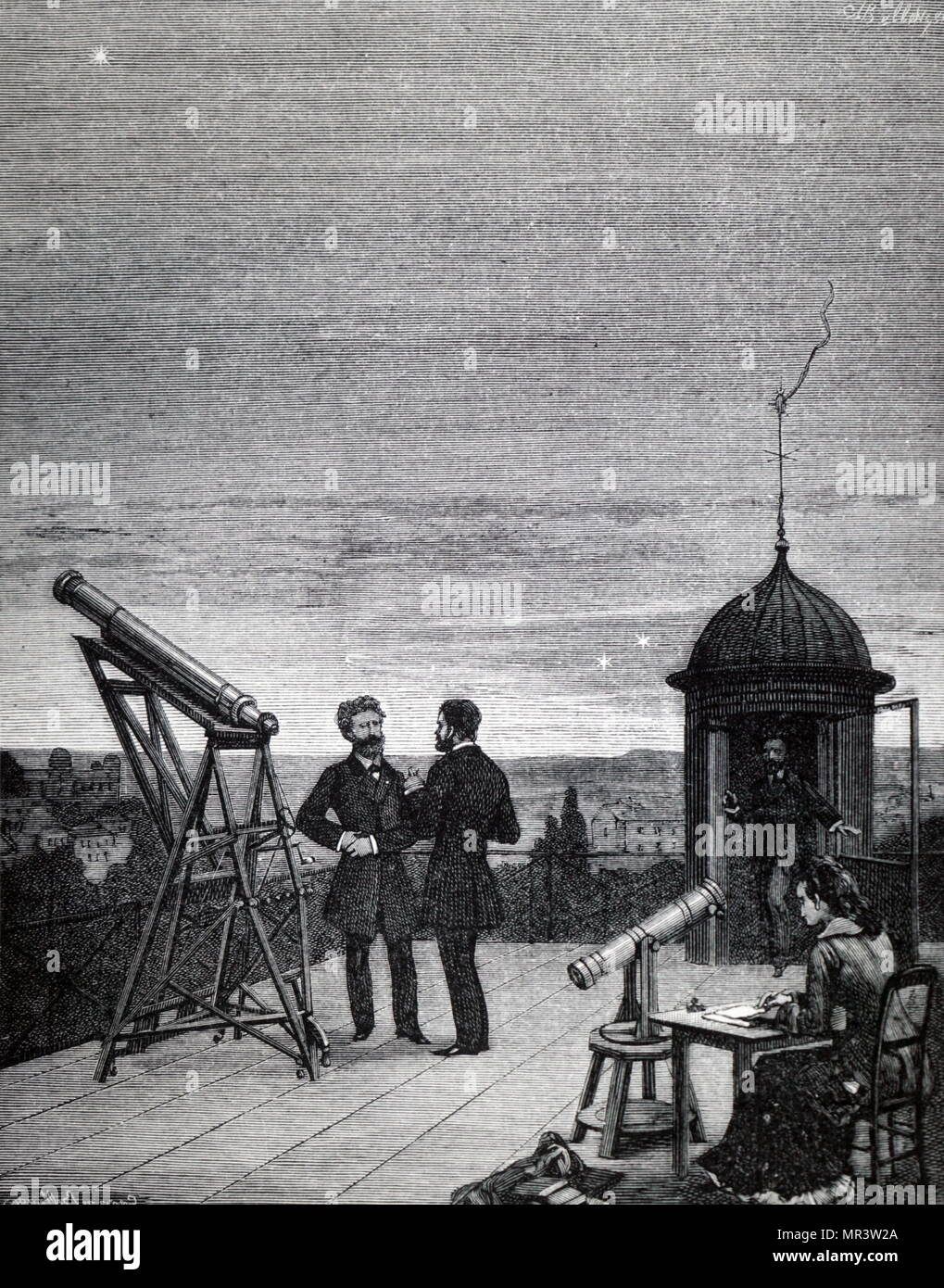 Illustration depicting the use of a small refractor to observe Mercury, Venus and Jupiter from the roof of the Paris Observatory. Dated 19th century - Stock Image