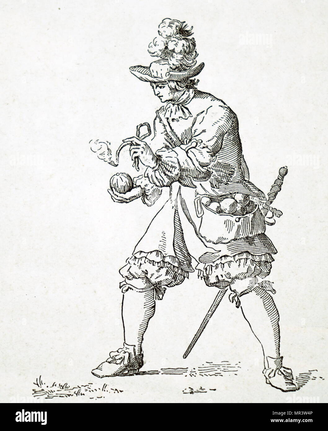 Illustration depicting a French grenadier lighting the fuse of a
