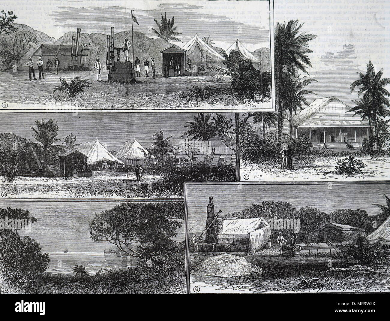 1883 illustration depicting astronomers making telescope observations in Africa - Stock Image