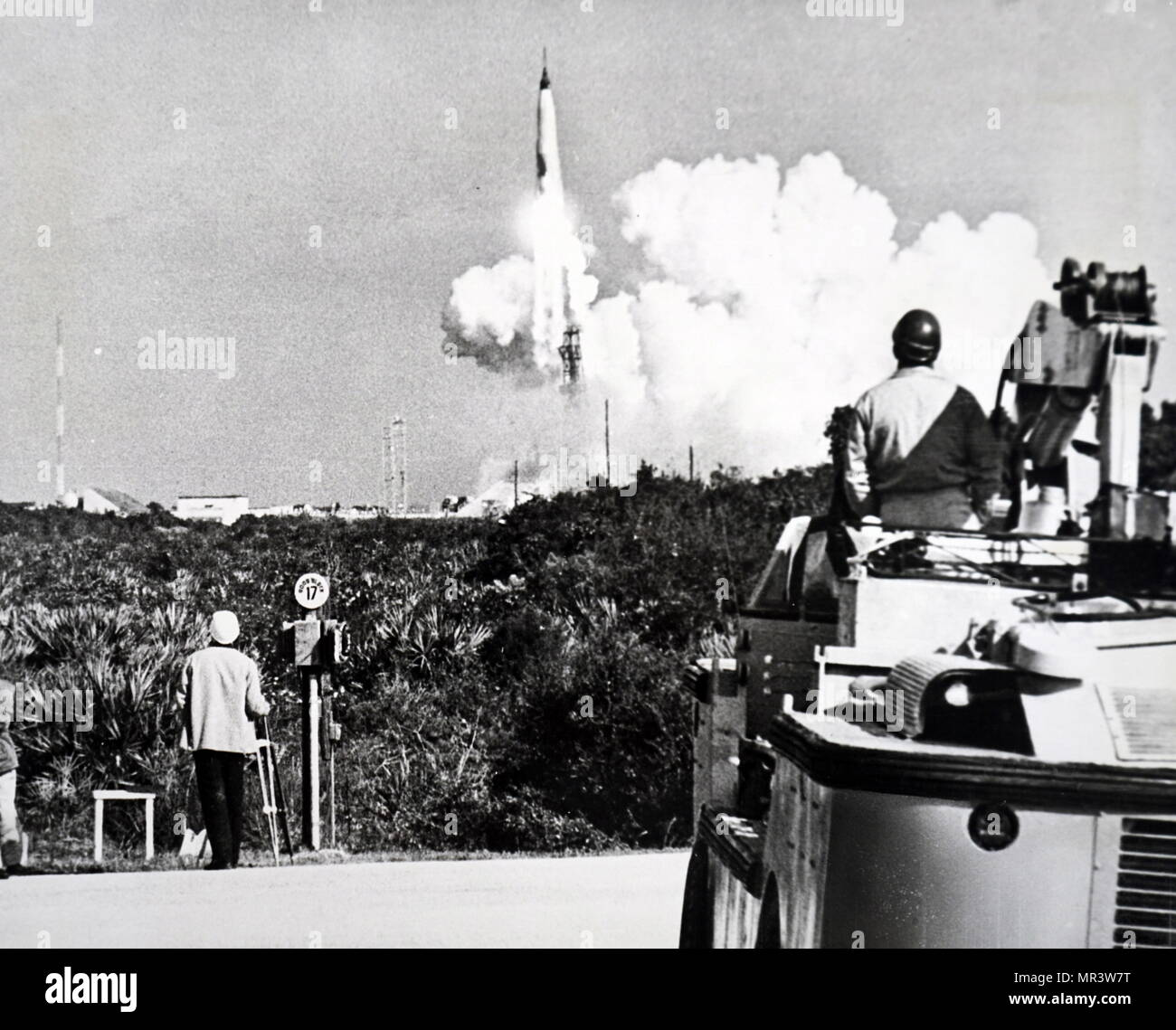 Photograph taken during the launch of Mercury-Atlas 8. Dated 20th century - Stock Image