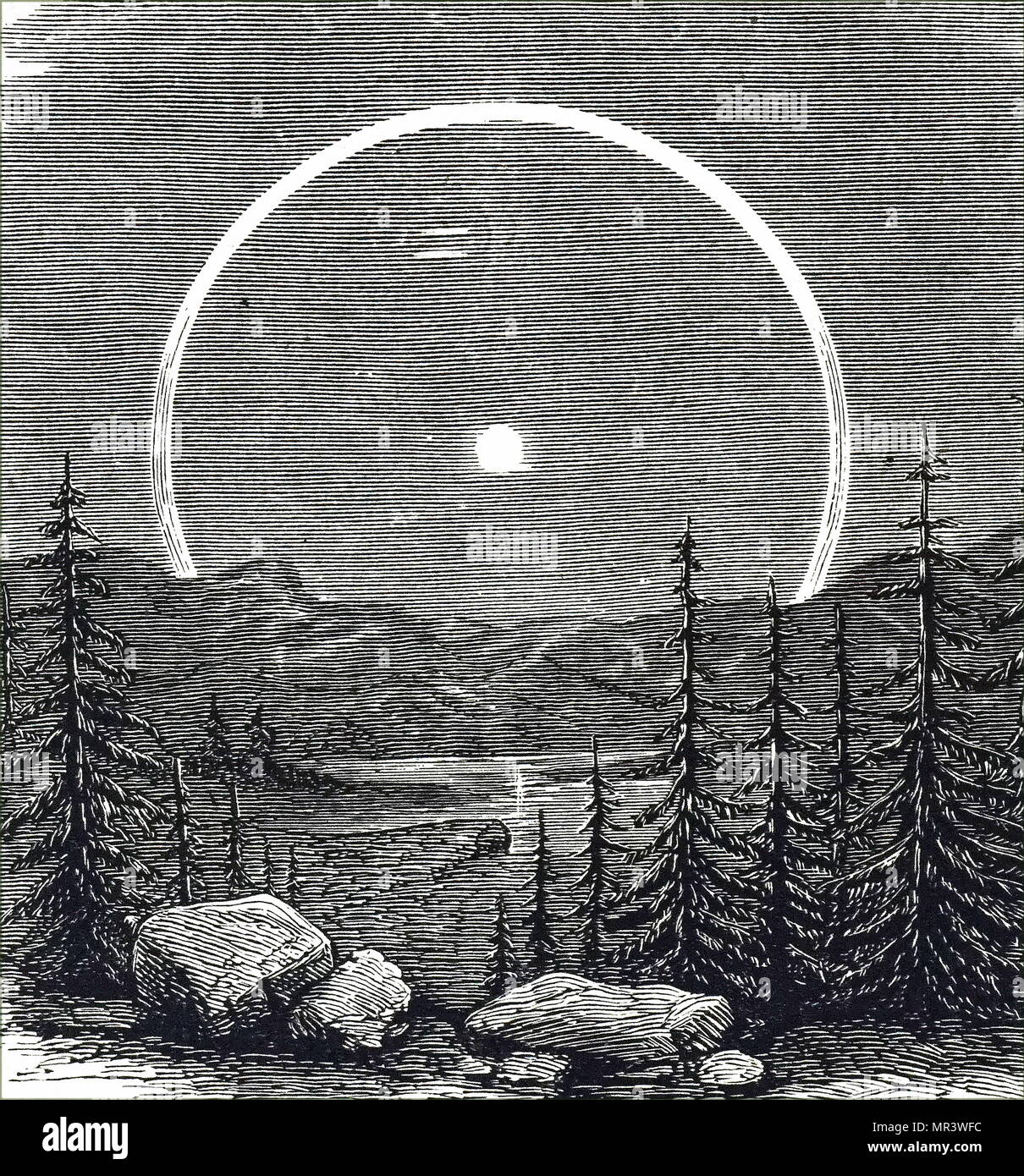 Illustration depicting a lunar halo or 'glory'. Like similar phenomena observed round the sun, such haloes are caused by the reflection from water droplets or minute ice particles in the earth's atmosphere. Dated 18th century - Stock Image