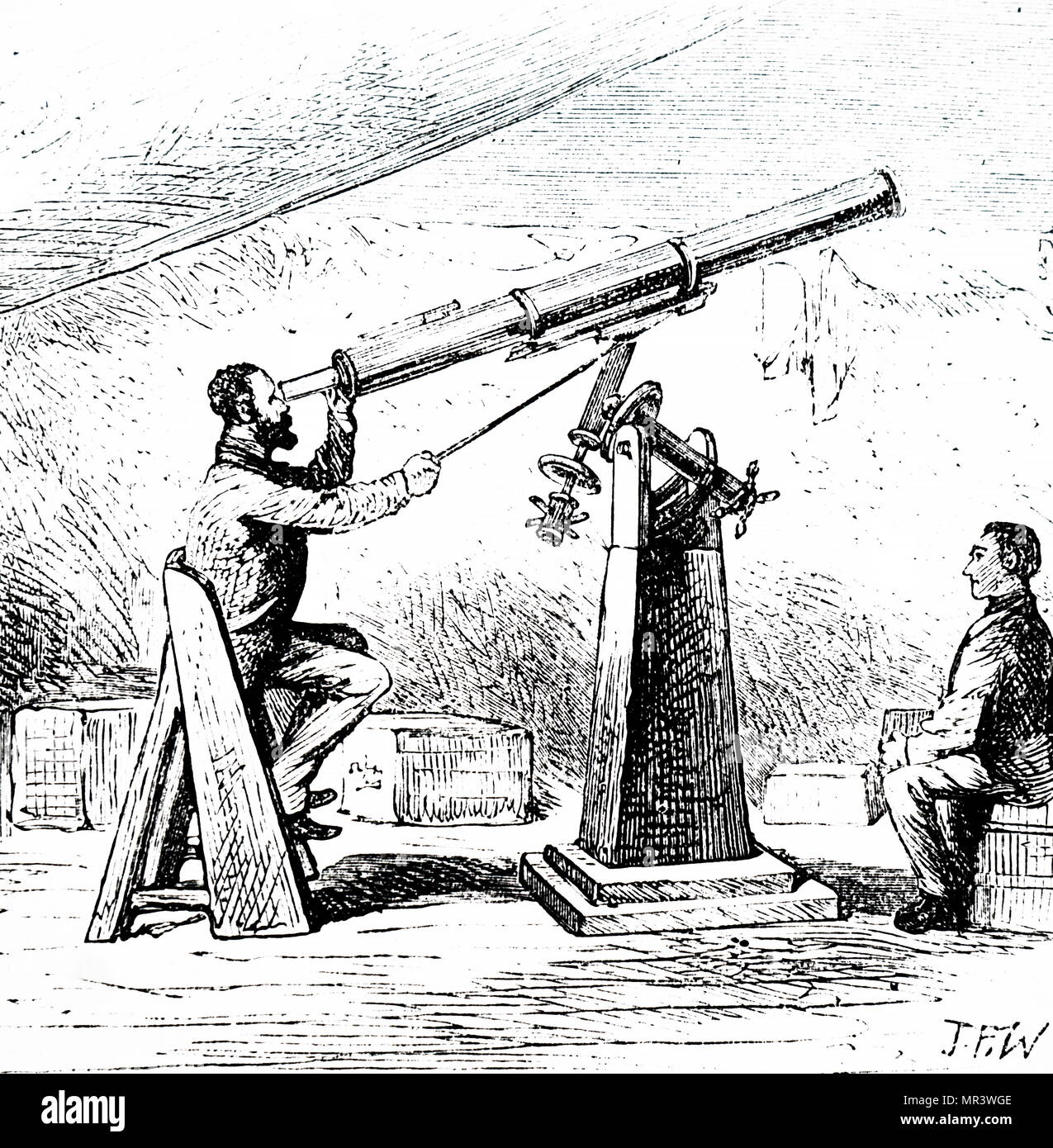 Illustration depicting an expedition to observe the transit of Venus on Kerguelen Island. 19th century - Stock Image