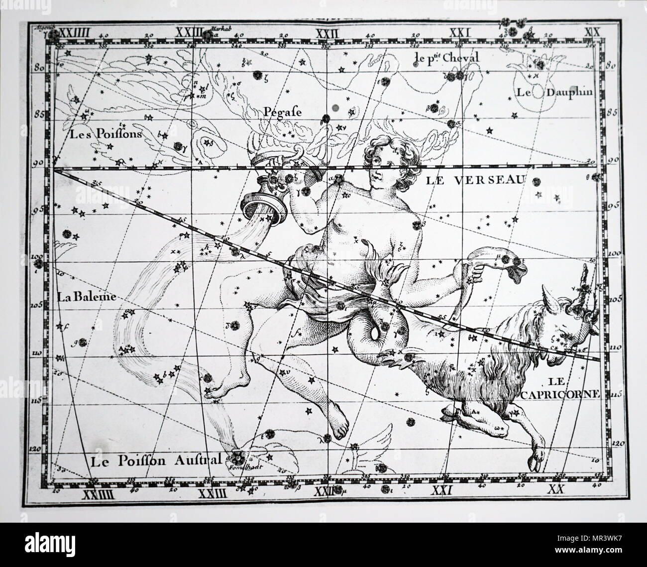 Chart showing the constellation of Aquarius and Capricorn. Dated 18th century - Stock Image