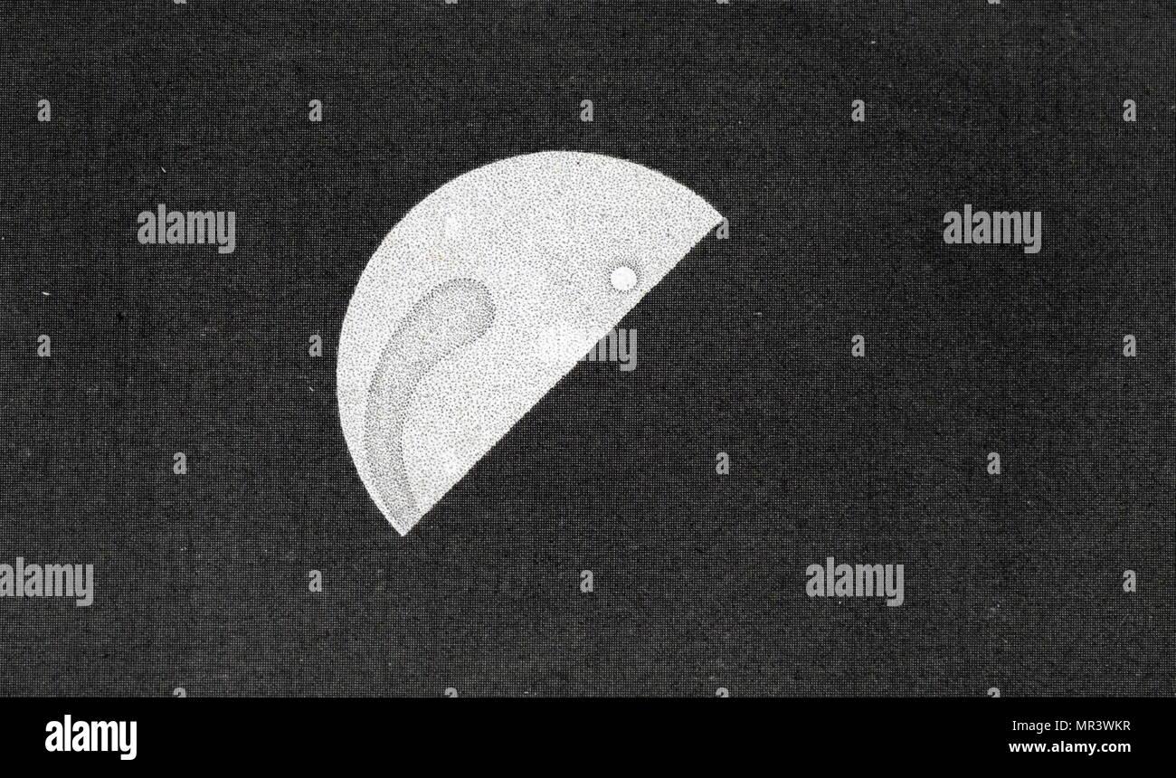 Telescopic image of the planet Venus. Dated 19th century - Stock Image