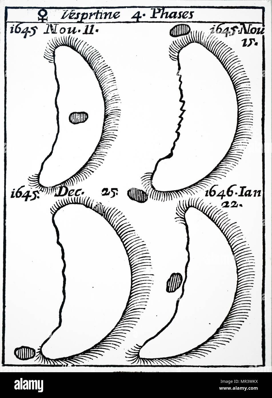 Telescopic image of the planet Venus. Dated 17th century - Stock Image