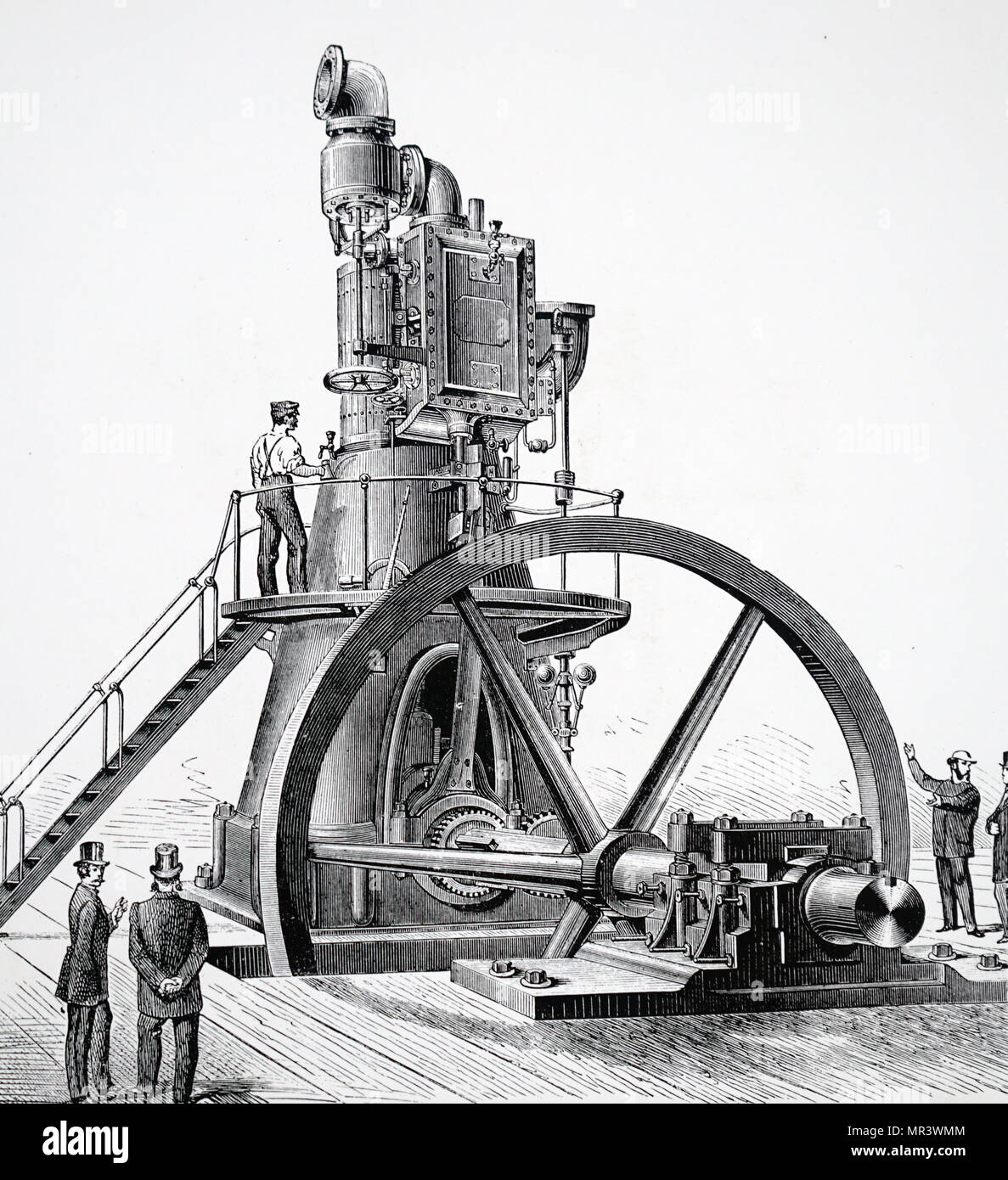 Illustration depicting a direct action vertical steam engine with flywheel shaft near floor level. Dated 19th century - Stock Image