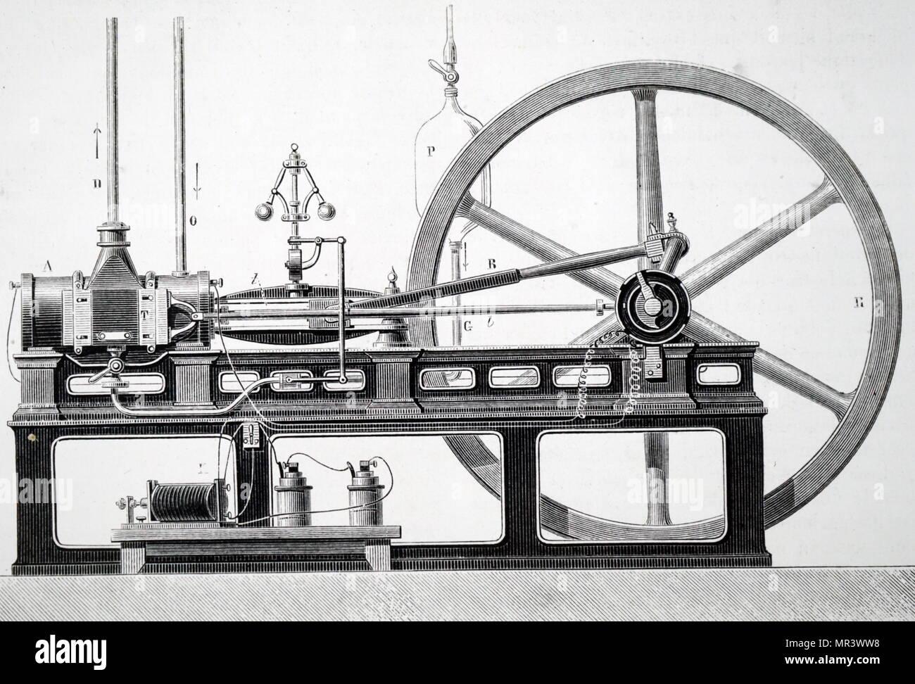Illustration depicting the original  'Lenoir' gas engine. Dated 19th century - Stock Image