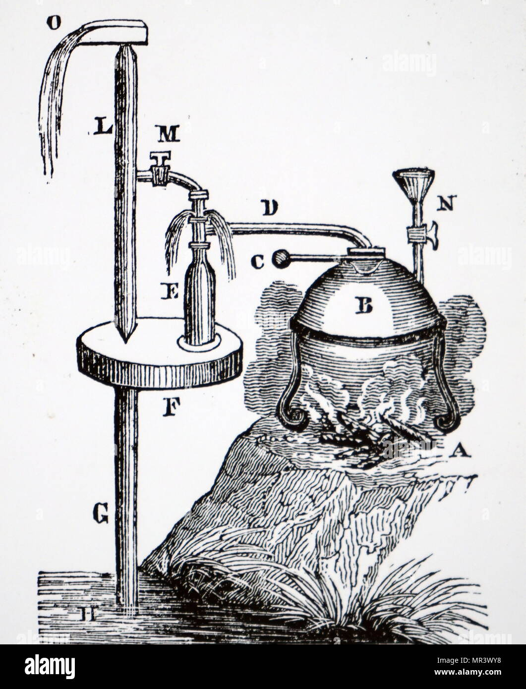 illustration depicting a small steam engine with one receiver used for raising water dated 19th century MR3WY8 illustration depicting a small steam engine with one receiver used