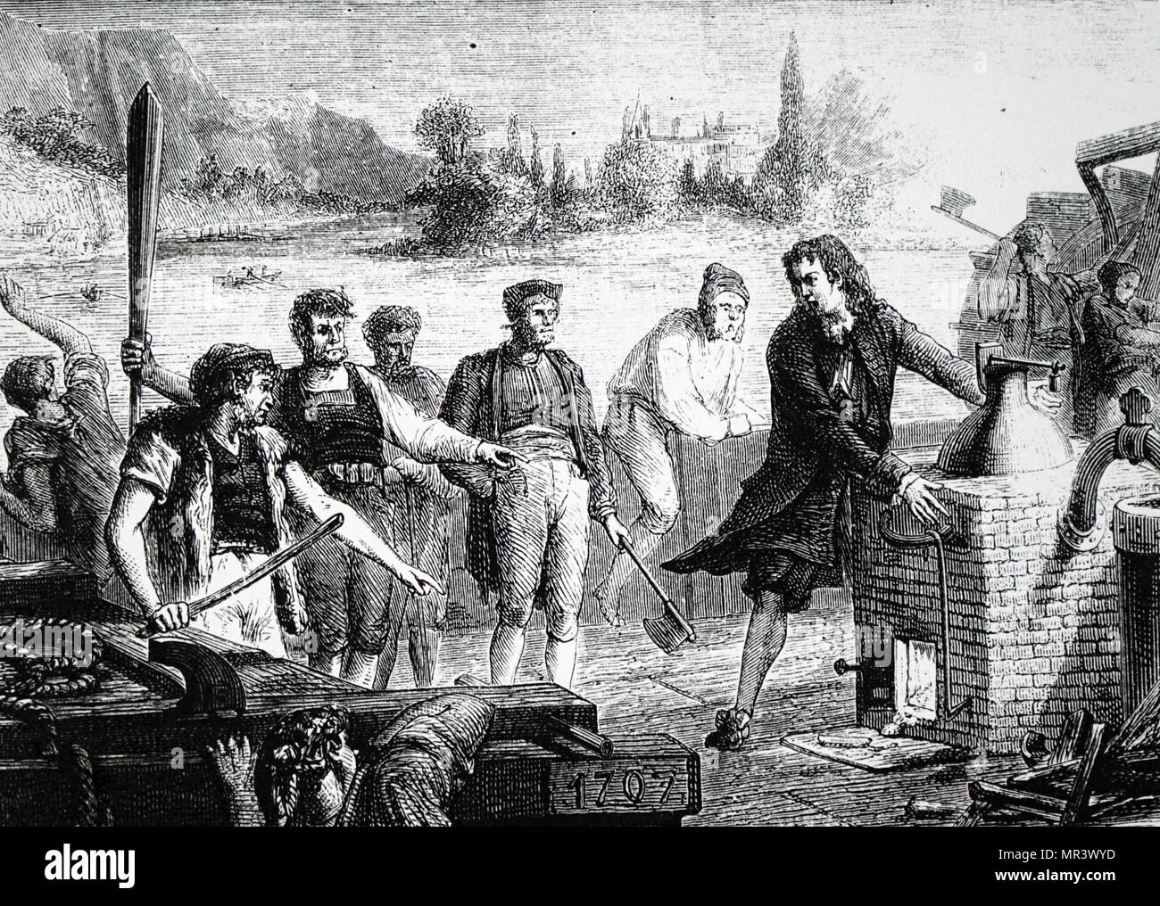 Artist's impression of the boatmen on the Weser destroying Papin's steam engine. Denis Papin (1647-1713) a French physicist, mathematician and inventor, best known for his pioneering invention of the steam digester, the forerunner of the pressure cooker and of the steam engine. Dated 18th century - Stock Image