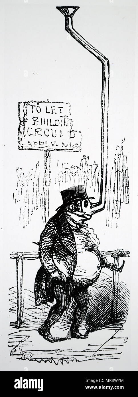 Cartoon commenting on the air pollution in London. Dated 19th century - Stock Image