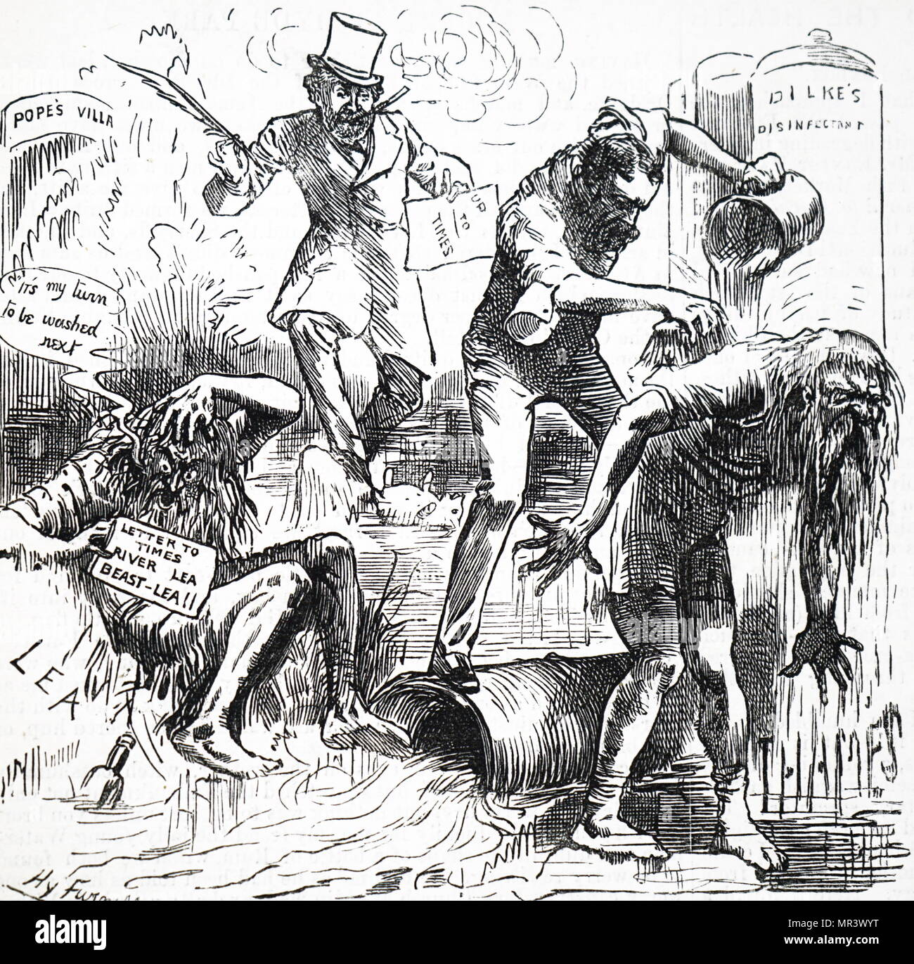 Cartoon commenting on the state of the River Thames and Lea Rivers. Dated 19th century - Stock Image