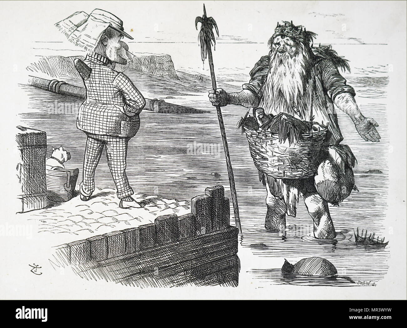 Cartoon depicting Old Father Thames looking ashamed of his filthiness. Illustrated by John Tenniel (1820-1914) an English illustrator graphic humourist, and political cartoonist. He was knighted for his artistic achievements in 1893. Dated 19th century - Stock Image