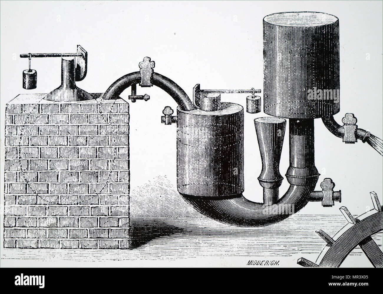 Illustration depicting Papin's steam engine (1707) for pumping water from mines. It was the first engine to use the safety valve he had invented twenty-seven years earlier for his 'digester'. (1647-1713) a French physicist, mathematician and inventor, best known for his pioneering invention of the steam digester, the forerunner of the pressure cooker and of the steam engine. Dated 19th century - Stock Image