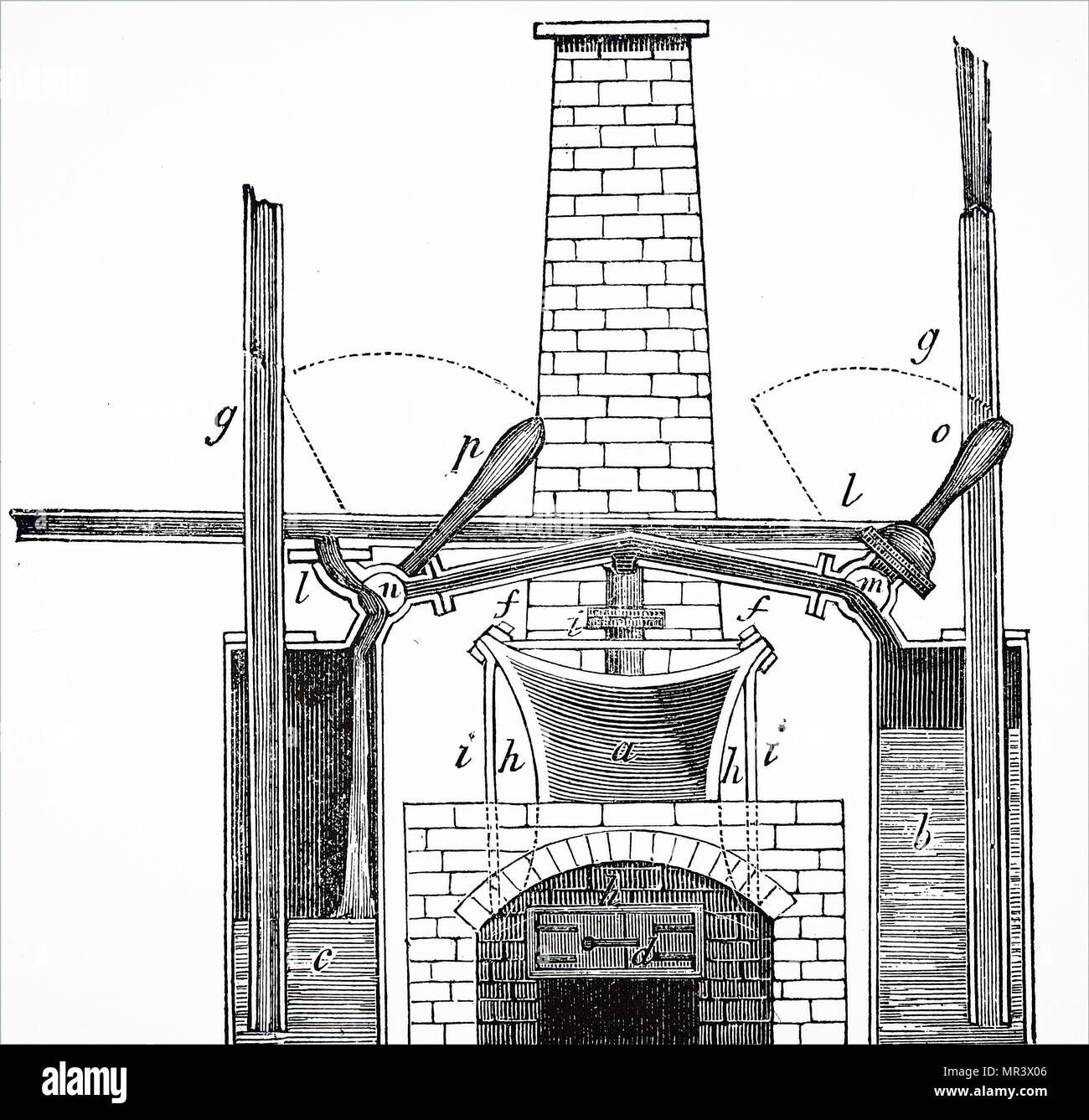 Diagram depicting the Marquess of Worcester's steam engine (1663) used for  raising water.