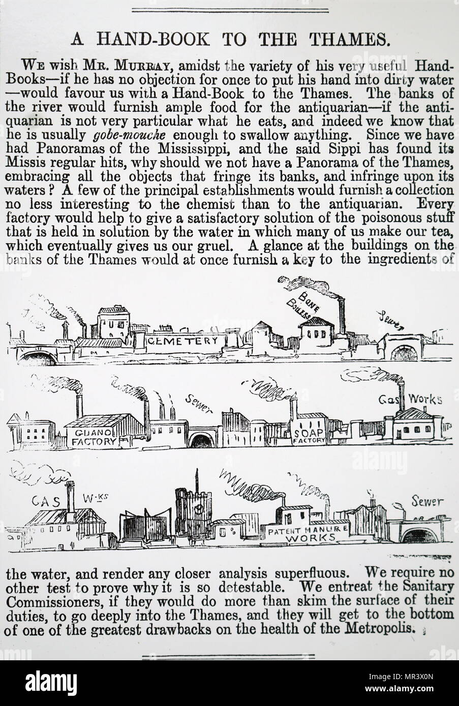 Copy of a complaint made about Thames pollution by establishments along the river bank. Dated 19th century - Stock Image