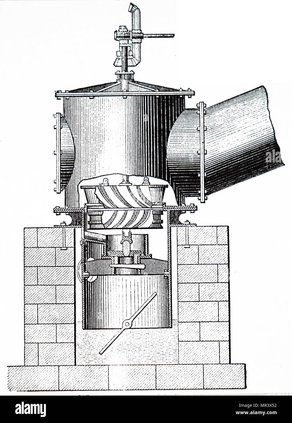 Engraving depicting a Watson's turbine on the Jonval (downward flow) principle. Dated 19th century - Stock Image