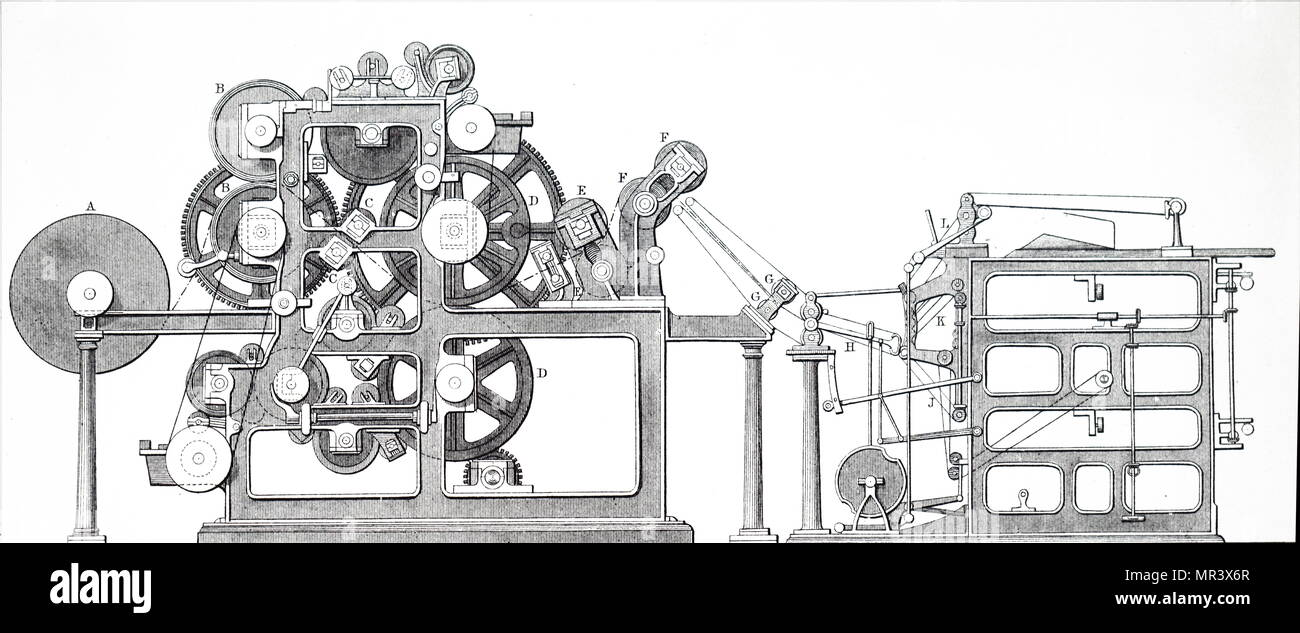 Engraving depicting Ingram's rotary printing machine, used for printing illustrated newspapers. Dated 19th century - Stock Image