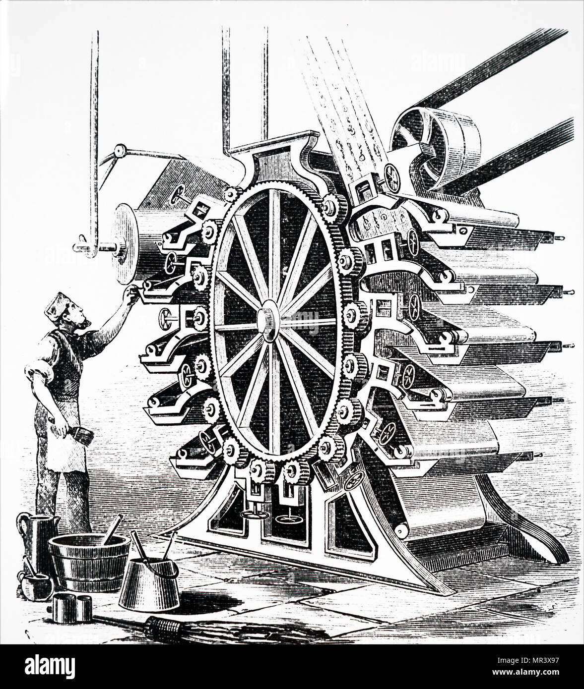 Illustration depicting a wallpaper printing machine. Dated 19th century - Stock Image