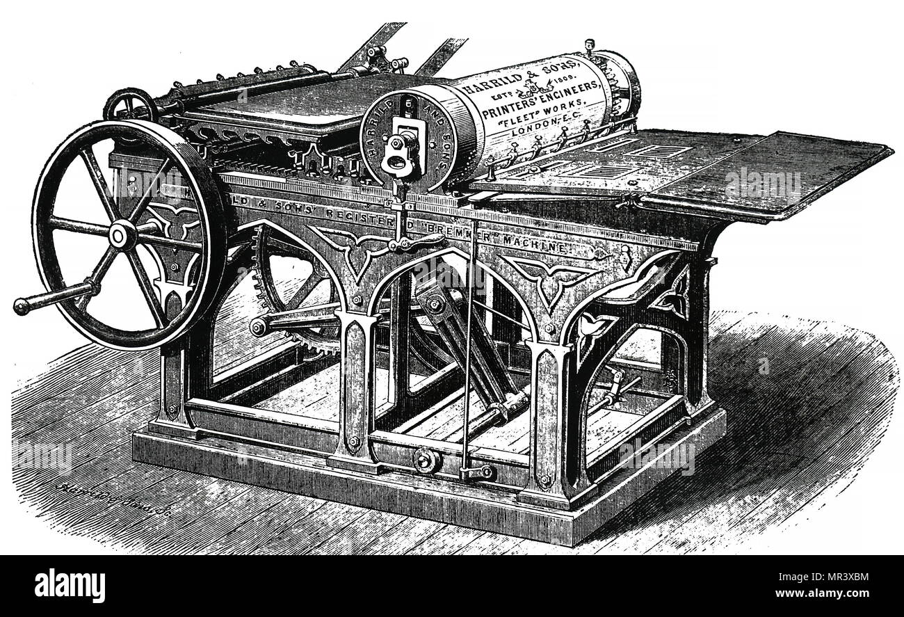 Nineteenth century Bremmer printing press, by Harrild & Sons of London. 1872 - Stock Image