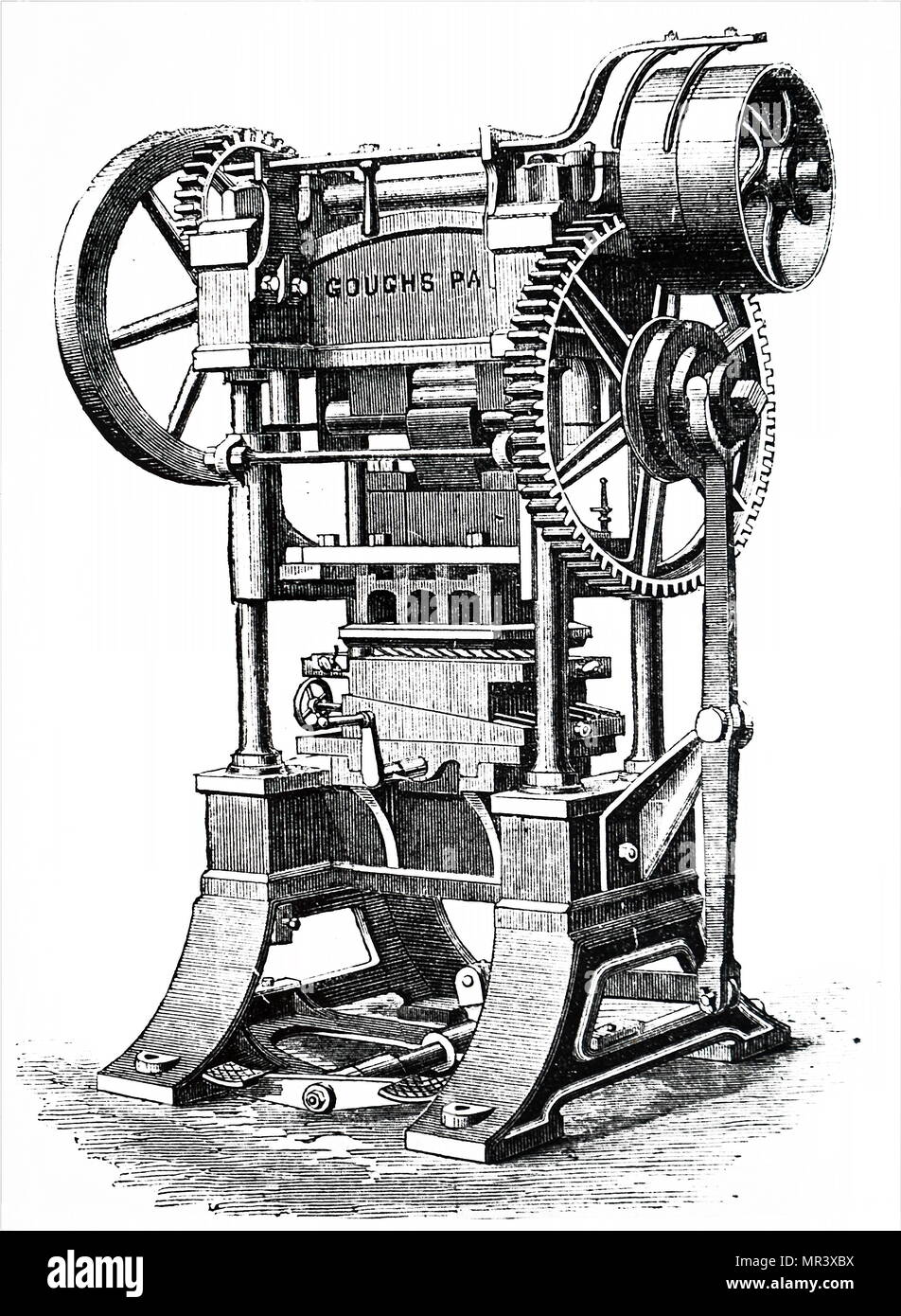 Engraving depicting a patent rotary 'arming' press for producing devices on book covers and spines for bookbinders. Dated 19th century - Stock Image