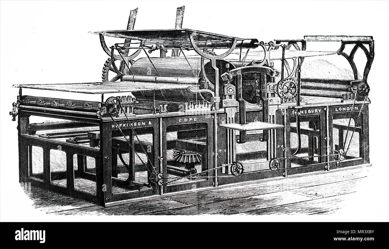 Engraving depicting Hopkinson & Cope's steam powered rotary press. Dated 19th century - Stock Image